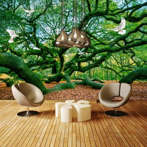 Drop Shipping Custom 3D Green Pastoral Pigeon Scenery Sofa Background Mural Wall Decorative Painting Tropical Wallpaper