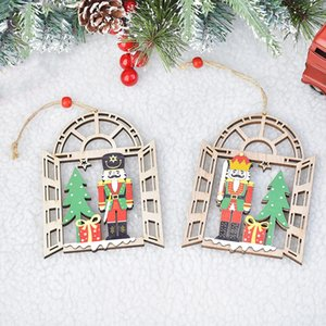 Decorazione natalizia in legno Wooden Soldier Pendant Creativo finestra decorazione pendente albero natale ciondolo t3i51197