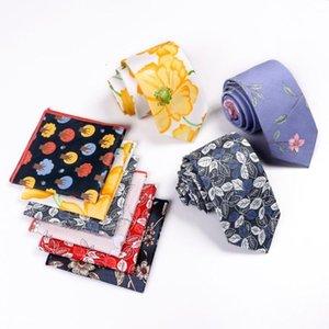 Homens Set Tie Linbaiway New Cotton da flor Ties Handmade Lenço Gravatas Para Toalha Men bolso Praça Logo Gravata Personalizada