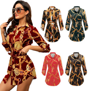 Blusas de las mujeres S-6XL Otoño Invierno impresión de la ropa da vuelta-abajo más el tamaño de las tapas camisas femeninas de manga larga de gran tamaño Multicolor