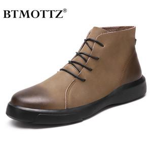Winter Herren Boot echtes Leder Ankle Boots-Mann-Winter-beiläufiger Schuh wasserdicht warmes Fell Schnee für Botas BTMOTTZ