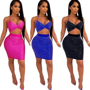 Dress Sexy V Neck 2PCS Dress Womens Designer Two Piece Sets Halter Backless Strapless High Waist Scald Drill