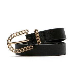 Cross-Border Explosion Models Womens European and American Chain Buckle Decorative Womens All-match Casual Waistband Cool Pu Pin Buckle Wais