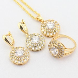 WPAITKYS Fahison White Cubic Zirconia CZ Gold Color Jewelry Sets For Women Drop Earrings Necklace Pendant Rings Free Gift Box