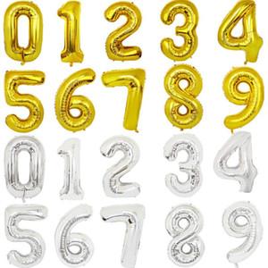 풍선 골드 실버 편지 디지털 Globos 생일 파티 장식 아기 목욕 용품 EWE1577 호일 32 인치 편지 번호 풍선