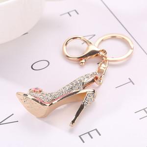 High Heel Shoe Keychain Rhinestone Crystal Purse Car Key Chain Bag Decorative Alloy Keyring Key Ring Cute