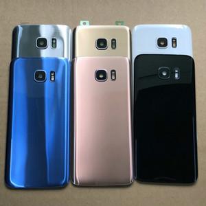 10pcs / lot für SAMSUNG Galaxy S7 Rand G930F G935F Zurück Glasbatterie-Abdeckung hintere Tür Gehäuse Case S7Edge Glasdeckel