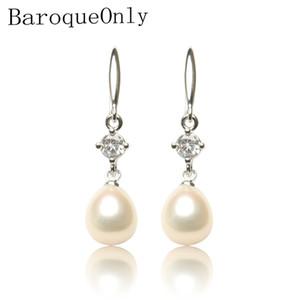 BaroqueOnly природной пресной воды жемчужина падение серьга 925 серебряных серьги белых розовые золотистые большой алмаза циркон ювелирные изделия подарок венчание