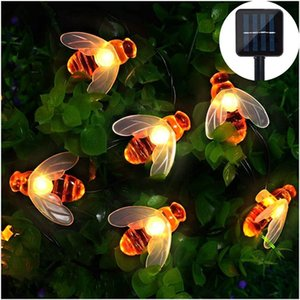 Solar Powered Honey Bee LED Solar String Lights Outdoor Fairy String Lights for Garden Patio Flower Trees Lawn Landscape 5M 10M
