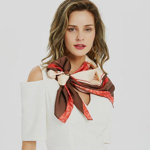 Yilian Марка Customized площади печати шарф 90 * 90см Top Flight Attendant качества Cravat женщин шарф сумка Ribbobn