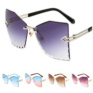 Fashion Women Rimless Sunglasses Trimming Lens Sun Glases Polygon Eyewear Anti-UV Spectacles Gradient Color Eyeglasses Adumbral A++