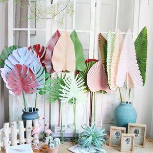 Renkli Yapay Tropik Palmiye Yapraklar Plastik Monstera Yapraklar düğün yol için çiçek ev dekorasyonu için Yapay Ağaçlar lider dekoratif