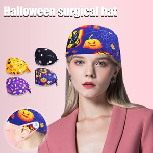 Halloween Scrub Cap With Buttons Hat Suction Sweat Towel Cap Printed Christmas hat Santa Claus new year decorations