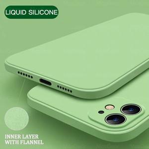 Quadratische flüssige Silikon-Soft-Handy-Fälle für iPhone 12 11 Pro XR XS MAX 7 8 6S PLUS SE 2 Farbabdeckung