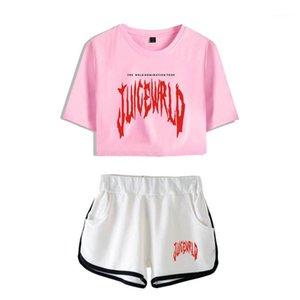 Impreso de manga corta de las mujeres ocasionales sportwears simple 999 femeninas chándales con bolsillos verano Jugo WRLD 2pcs sistemas de la letra