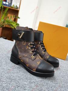 Louis Vuitton LV Martin boots  stivali donna autunno arte britannica alta cima fondo spesso la stampa di tutto-fiammifero da moto in pelle stivaletti donna scarpe 36-4