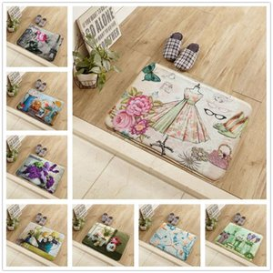 New American Retro Floor Mat Flower Rural Style Printed Kitchen Carpet Non-slip Entrance Door Mat 40 * 60 50 * 80CM