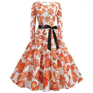 Print Collect Waist Expansion Dresses Womens Clothing Christmas Day Designer Womens Casual Dresses Fashion 3D Digital