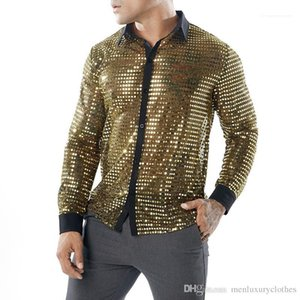 Jugar camisas Oro Plata Negro con lentejuelas tapas atractivas club de la tarde camisas para hombre ver a través de ropa de la etapa