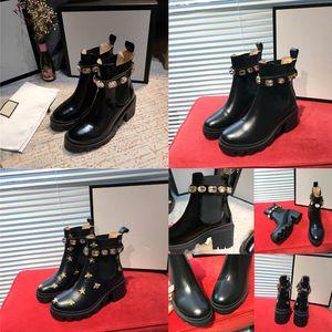 carregadores das senhoras clássicas do couro botas curtas casuais couro todas combinando salto alto moda de metal pérola Martin botas de 35 a 41