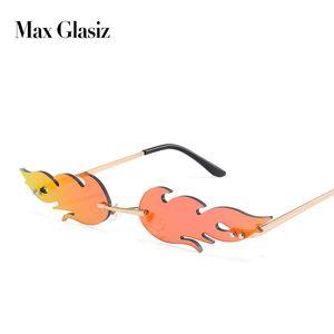 Max Glasiz New Arrival Unique Flame Shaped Lens Sunglasses Women Rimless Cool Trend Popular Metal Frame Sun Glasses gafas UV400
