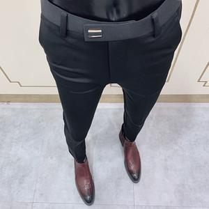 2020 Men's Business Dress Pants Solid Color Slim Fit Formal Office Suit Pant Streetwear Casual Trousers Pantalon Homme Classique