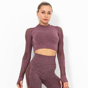 Women's Tight Quick-Drying Yoga Shirt Hollow Mesh Sexy Exposed Belly Sports Long-Sleeved Fitness Yoga Clothes Breathable T-shirt