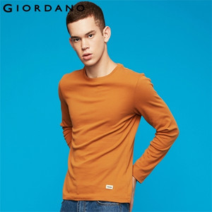 Giordano Men Thick Tshirt Men Ribbed Crewneck Tees Quality Coton Autumn Winter T Shirt Men Slim Fit Camisas 01029785 0924