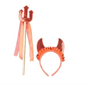 Halloween del baile de máscaras del diablo rojo tocado sequinssuit diablo de dos piezas lentejuelas conjunto de demonios niños lentejuelas tocado horquilla P6byj