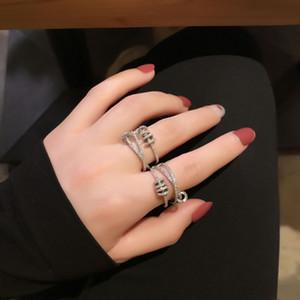 Shine Luxury anelli di Zircon per le donne di alta qualità di rame a tre anelli di diamante Croce aperto Anello registrabile festa di nozze regali di gioielli 2020