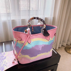 Designer- Summer New Colorful Shopping Shopping Una borsa a tracolla Portable Mummy Bag Gradient Tie-Dye Shopping Bag