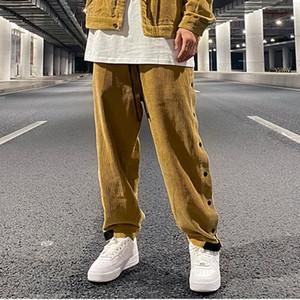 Boutons latéraux d'origine Corduroy droites Pantalons Casual Hommes Drawstring solide Streetwear lâche Sweatpants Hip Hop Pantalons Oversize