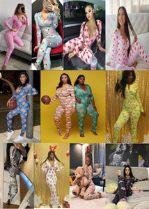 Frauen S Nightwear Playmuit Training Button Bodysuit Skinny Drucken Langarm Jumpsuits V-Ausschnitt Onesies Damen Plus Größe Strampler Pyjamas
