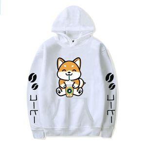 Fashion Anime Cartoon Dog Coffee Pullover Sweatshirt Men Women Funny Harajuku Hip Hop Streetwear Coffee Dog Fleece Hoodies