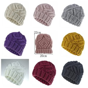 Europe Style Knitting Hats Diamond Shaped Section Women Keep Warm Knitted Caps Autumn And Winter Multi Color 8 5rpH1