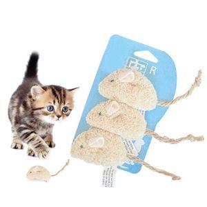 3шт / Set Забавный мультфильм Поддельный мышь Искусственный Rat Плюшевые игрушки Животные Интерактивное обучение Chew Игрушка Щенок Chew Sound Pet Cat игрушки
