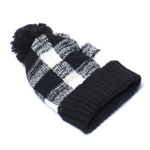 Women Crochet Hat Winter Warm Plaid Pom Beanies Caps Fashion Designers Ribbed Knitting Bonnet Beanie Christmas Hats Headwear Boutique D92403