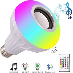 E27 Smart LED Light bulb RGB Wireless Bluetooth Speakers Bulb Lamp Music Playing Dimmable 12W Music Player Audio with 24 Keys Remote Control