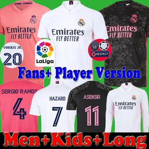 REAL MADRID 2020 2021 Player version fans Enfants Hommes Football Maillots 20 21 DANGER 11 ASENSIO # 20 kits de longue chemise de football VINICIUS camiseta ensemble