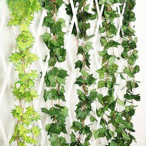 Piante 5Pcs / Lot 2.4M artificiali Green Ivy foglie artificiali Climbing Tiger Grape patate Hitom Vite falso Fogliame sposa Saro #
