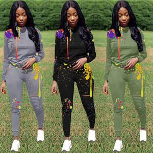 Womens Two Piece Jogging Attiti Sexy Tie Dye Hole Felpe con cappuccio Pantaloni Abbigliamento Set di abbigliamento Chándal de las Mujeres