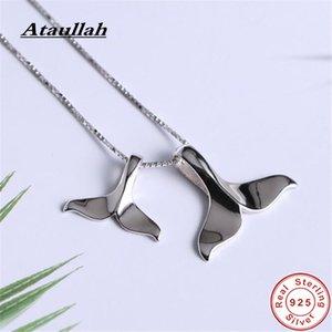 Ataullah Creative mignon Double Fishtail Dolphin Colliers Argent 925 Bijoux collier pendentif bijoux pour femmes Beaux cadeau NW085