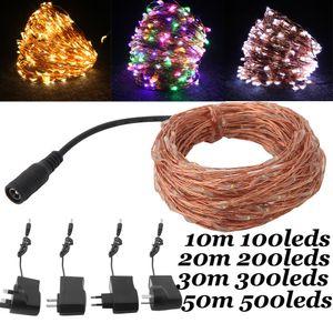 Impermeable al aire libre de Navidad Luz de Navidad 10m 20m 30m 50m luz de la secuencia del alambre de cobre LED blanco cálido de luz Guirnaldas con adaptador