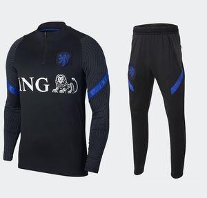 20 21 homens agasalho Holanda equipa nacional survêtement 2020 2021 Holanda manga longa sportswear futebol formação fato de treino conjunto