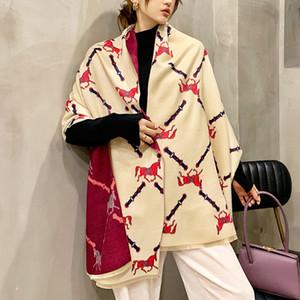 Thick Cashmere Women Scarf Winter Warm Lady Shawls Wraps Luxury 2020 Brand Print Horse Blanket Scarves Female Echarpe