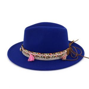 Women Wool Fedora Hat With Tassel Ribbon Party Hat For Elegant Ladywide Brim Jazz