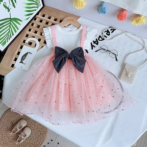 Toddler Baby Girls Clothes Summer Kids Sweet Sleeves Tops Lace Mesh Overallls Dress 2pcs Princess Party Outfit Sets