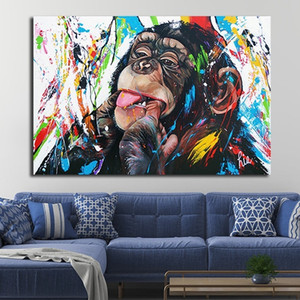 Graffiti Cute Monkey Canvas Painting Modern Pop Art Colorful Poster Prints Abstract Wall Art Pictures for Living Room Home Decoration