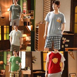 OStMh c4cUP 20 a casa degli uomini primavera ed estate a manica corta in cotone nuovo studente tempo libero pigiama coreano pigiama indossare ins stile stile loose 2 pezzi