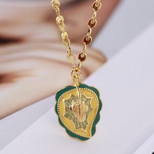 Non Mainstream Design Nouveau émail de couleur Glaze Feuilles de palmier Feuilles de style simple collier chaîne Clavicule